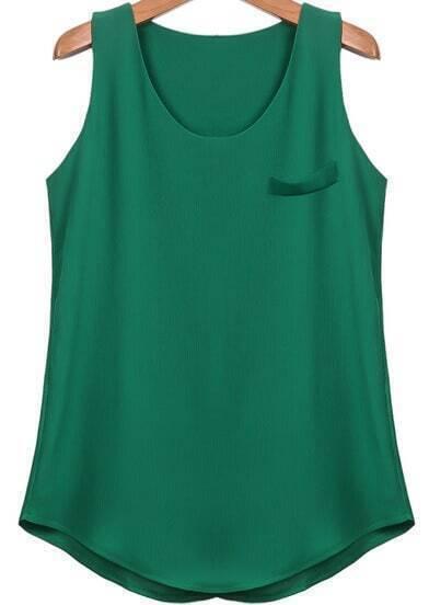 Green Round Neck Sleeveless Loose Chiffon Vest