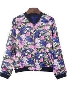 Purple Long Sleeve Zipper Floral Crop Jacket