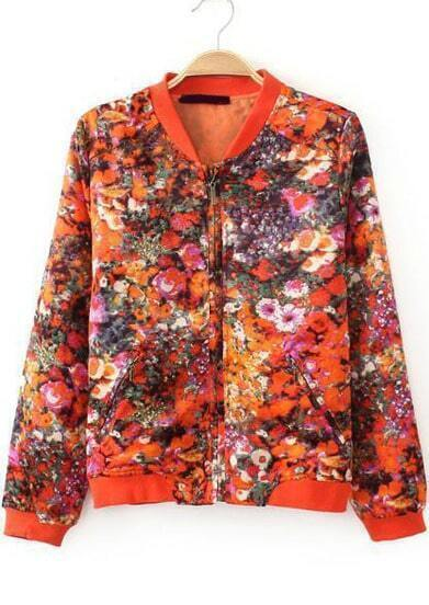 Orange Long Sleeve Floral Pockets Crop Jacket