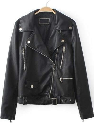 Black Lapel Long Sleeve Zipper PU Leather Jacket