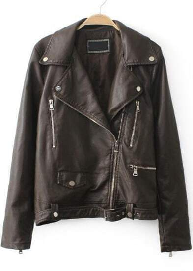 Khaki Lapel Long Sleeve Zipper PU Leather Jacket