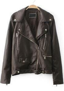 Khaki Lapel Long Sleeve Zipper PU Leather Jacket