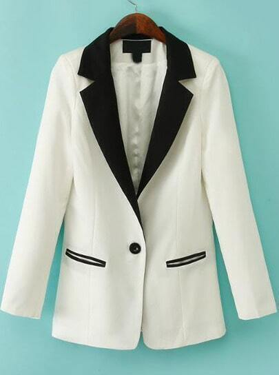 White Contrast Notch Lapel Pockets Fitted Blazer