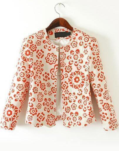 Apricot Long Sleeve Vintage Floral Crop Blazer