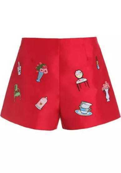 Red Mid Waist Embroidered Straight Shorts
