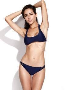 Dark Blue Two Piece Swimwear with Handmade Multi Straps