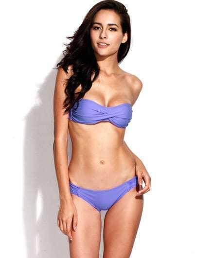 Purple Twist Bandeau Top with Ruched Side Bottom Bikini