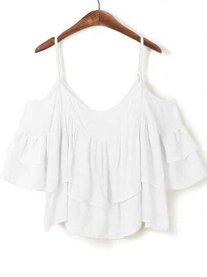 White Off the Shoulder Cascading Ruffle Top
