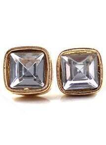 White Gemstone Gold Square Stud Earrings