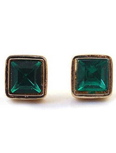 Green Gemstone Gold Square Stud Earrings
