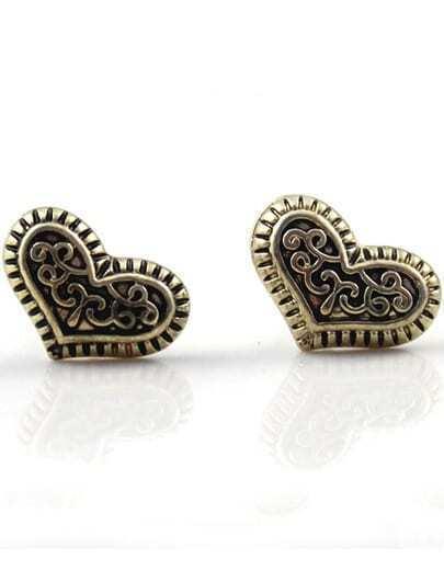 Retro Gold Heart Stud Earrings