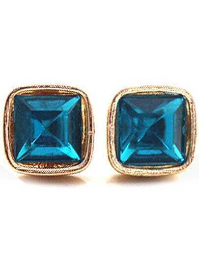 Blue Gemstone Gold Square Stud Earrings