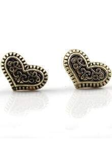 Retro Gold Heart Stud Earrings