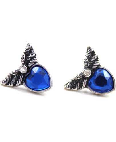 Blue Gemstone Heart Retro Silver Wing Stud Earrings