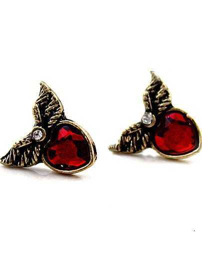 Red Gemstone Heart Retro Silver Wing Stud Earrings
