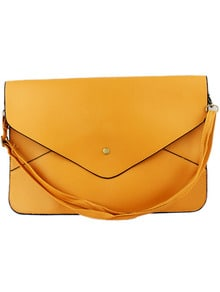 Yellow Zipper Envelope Clutch Bag