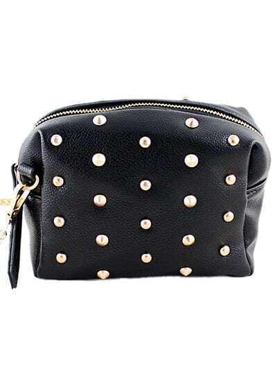 Black Rivet Chain Satchels Bag