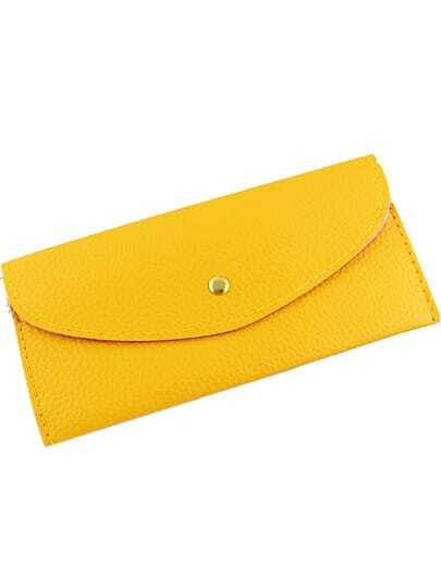 Yellow Fashion Envelope PU Clutch Bag