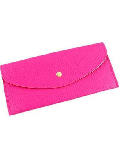 Rose Red Fashion Envelope PU Clutch Bag