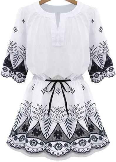 White Short Sleeve Drawstring Waist Embroidery Hem Dress