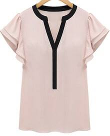 Pink Ruffle Short Sleeve V-neck Blouse