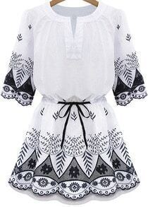 White Short Sleeve Drawstring Waist Embroidery Hem Dress