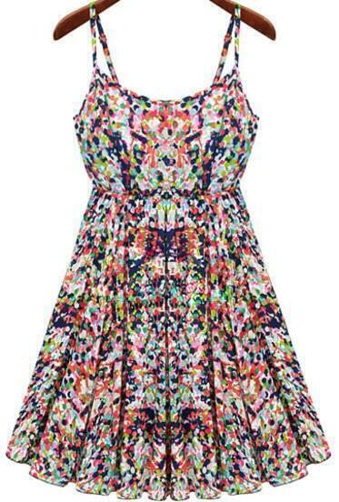 Multicolor Spaghetti Straps Florals Print Dress