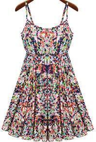 Multicolor Spaghetti Straps Florals Print Dress