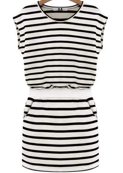 Black and White Sleevless Striped Waistband Dress