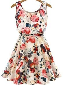 Apricot Sleeveless Round Neck Florals Print Dress