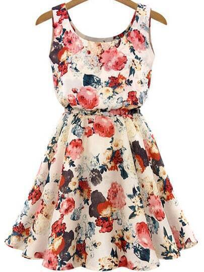 Multicolour Sleeveless Round Neck Florals Print Dress