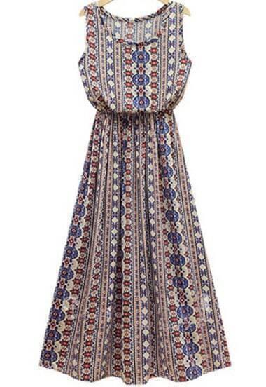 Blue Sleeveless Geometric Tribal Print Maxi Dress