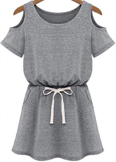 Grey Cold Shoulder Short Sleeve Drawstring Waist Dress