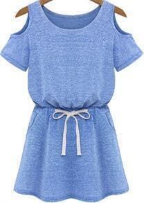 Blue Cold Shoulder Short Sleeve Drawstring Waist Dress