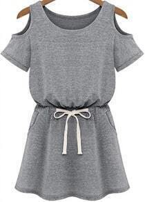 Grey Cold Shoulder Short Sleeve Drawstring Waist Dress