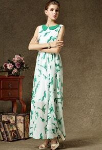 White Peter Pan Collar Sleeveless Leaf Print Maxi Dress
