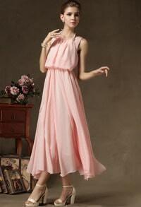 Pink Halter Top Sleeveless Maxi Dress
