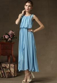 Blue Halter Top Sleeveless Maxi Dress