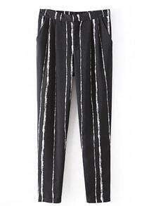 Black Vertical Stripes Tapered Trouser