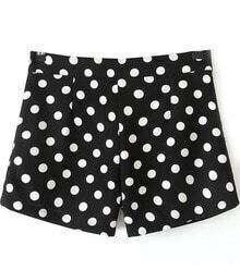 Black Polka Dot Print Shorts