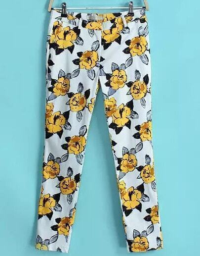 Yellow Florals Print Straight Leg Trousers