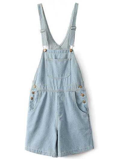 Blue Denim Dungaree Shorts