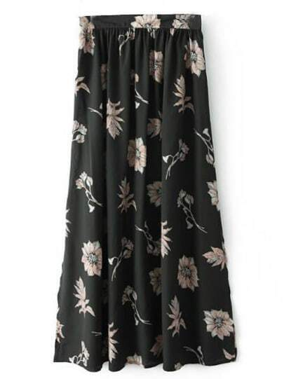 Black Florals Print Long Skirt