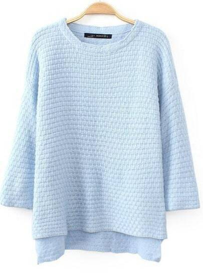 Light Blue Half Sleeve Dipped Hem Sweater