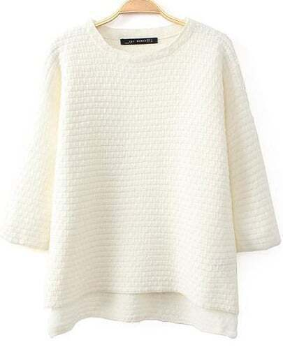 White Half Sleeve Dipped Hem Sweater