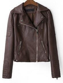 Brown PU Leather Jacket with Biker Panel Detail