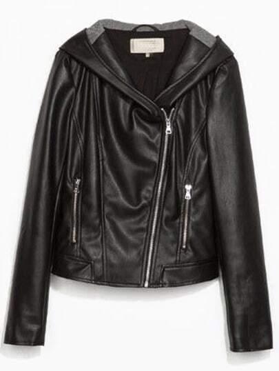 Black PU Leather Hooded Cropped Biker Jacket