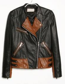 Black Contrast Brown Panel Zipper Embellishment Jacket