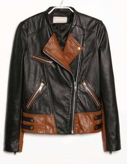 Black Contrast Brown Panel Zipper Embellishment Jacket