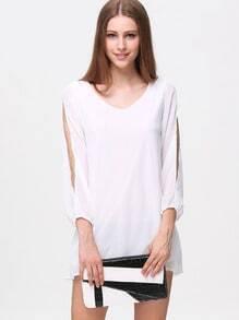 White Split Sleeve V Neck Loose Dress